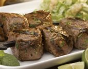 Lamb Pintxos with Wilted Napa Cabbage and Garlic-Mint Vinaigrette