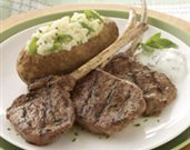 Grilled Lamb Lollipops with Twice-Baked Colorado Russet Potatoes and Fresh California Figs