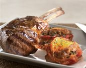 Grilled Double Lamb Rib Chops with Tomato-Bread Pudding