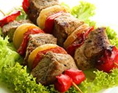 Honey-Glazed Lamb and Fruit Kabobs