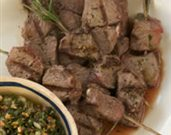 Grilled Lamb Skewers with Almond Salsa Verde