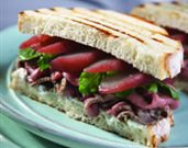 Roasted Lamb Sandwiches with Poached Pears and Goat Cheese
