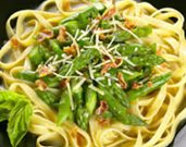 Asparagus Fettuccini with Pancetta and Basil in a White Wine Broth