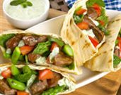 Grilled Lamb and Asparagus Pitas with Tsatsiki Sauce