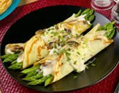 Asparagus and Mushroom Filled Crepes