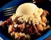Bread Pudding with Dried Cherries and Caramel Sauce