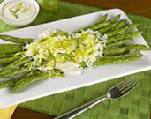 Asparagus with Lime Aioli, Egg and Green Onion