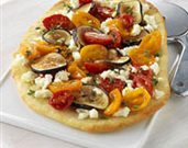 Marinated Tomato, Fresh Fig, and Feta Cheese Pizza