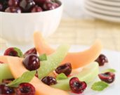 Fresh Bing Cherry Salad with Melon and Mint