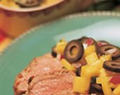 Grilled Adobo Pork with Mango Olive Salsa