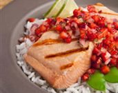 Grilled Salmon with Strawberry Ginger Salsa