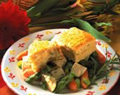 Chicken with Spring Vegetables & Parmesan Biscuits