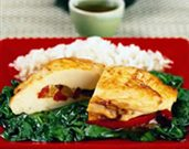 Pepper Stuffed Chicken Breasts with Spinach