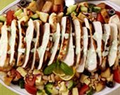 Warm Lemon Chicken over Panzanella Salad with Basil Aioli