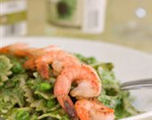 Spinach Basil Pesto Pasta and Shrimp