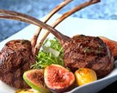 Grilled Rack of Lamb with Frisee, Fingerling Potatoes, Figs, Shaved Parmesan, and Thyme Vinaigrette