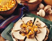 Mushroom & Brie Quesadillas with Mango & Papaya Chutney