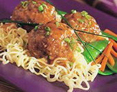 Asian Veal Meatballs with Noodles