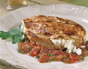 Feta Filled Chicken Breasts with Cumin, Tomatoes, and Mint