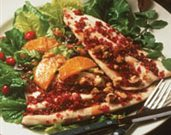 Cranberry Crusted Rainbow Trout with Warm Orange Vinaigrette