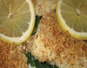 Crumb-Topped Haddock over Spinach