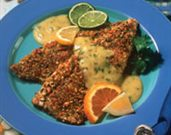 Pistachio Crusted Rainbow Trout with Cilantro Citrus Hollandaise