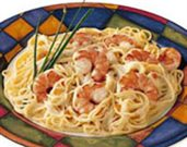 Shrimp Pasta with Cognac Sauce & Smoked Salmon