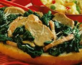 Florentine Pork in French Bread Boats