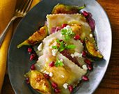 Butternut Squash Ravioli with Peppered-Pomegranate Sauce