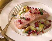 Olive Oil Poached Salmon with Pomegranate Spiced Cider Jus