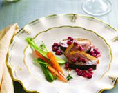 Pan-Seared Duck Breast with a Pomegranate-Thyme Reduction Sauce
