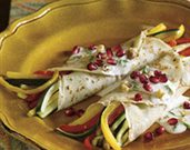 Pomegranate Crepes with Roasted Vegetables