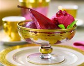 Pomegranate Poached Pears with Pomegranate Gelato
