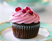 Pomegranate Velvet Cupcakes with Pomegranate Cream Cheese Frosting