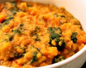 Dal with Sweet Potatoes and Kale