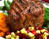 Rosemary Grilled Lamb Loin Chops with Cranberry and Peppered Apple Relish