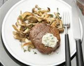 Beef Tenderloin Steaks with Blue Cheese Topping