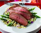 Grilled Peppery Top Round Steak with Parmesan Asparagus