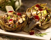 Artichokes Stuffed with Chicken and Wild Rice