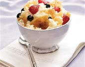Creamy Rice Pudding Brulee with Gingered Berries