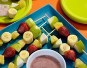 Pear Kabobs with Strawberry Dipping Sauce