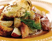 Roasted Chicken with Potatoes, Fennel, and Onions