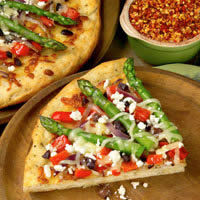Asparagus Pizza with Red Bell Pepper, Olive, and Feta Cheese