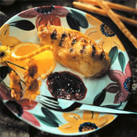 Grilled Chicken Breasts with Blueberry Chutney Sauce