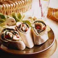 Spinach, Mushroom, and Mozzarella Wraps