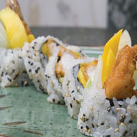 Mexican Coconut Shrimp Maki Roll with Mango, Cucumber, and Spicy Coconut Vinaigrette
