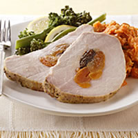 Fruit-Stuffed Pork Loin with Dijon-Garlic Crust