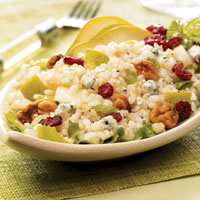 Pear and Walnut Rice Salad With Blue Cheese Vinaigrette