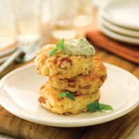 Prosciutto & Asiago Rice Cakes With Pesto Aioli