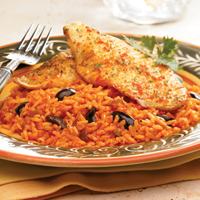 Tilapia With Cheesy Roasted Pepper-Chipotle Rice